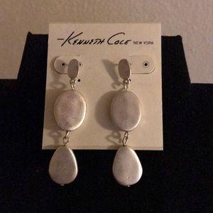 Matte finish silver drop earrings